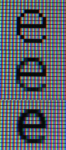 """Close-up view of an LCD monitor showing the letter """"e"""" rendered with (top) no antialiasing, (middle) traditional antialiasing, and (bottom) subpixel antialiasing. (Credit: ALexL33 @ Wikimedia Commons)"""